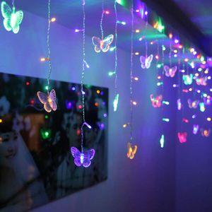 96LED Schmetterling Lichterkette Bunt Lichtervorhang Innen Außen Party Garten Weihnachten Deko
