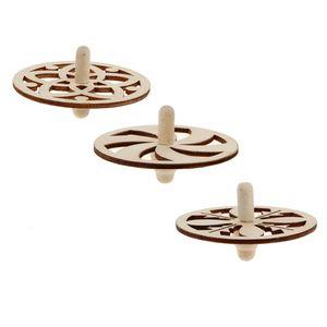 4 Stück Holz Kreisel zum Bemalen Basteln Holzkreisel Set