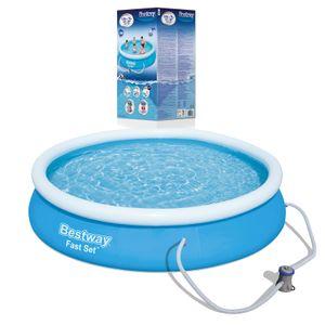 BESTWAY 57274 Fast Set Pool Swimmingpool Rund mit Filterpumpe Filter 366x76cm