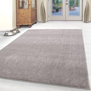 Kurzflor Teppich Einfarbig Robust Gabbeh Optik Wohnzimmerteppich Beige Meliert, Grösse:160x230 cm