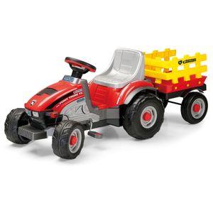 PEG Perego Tret-Traktor Mini Tony Tigre mit Anhänger Farbe: rot-schwarz-grau-gelb