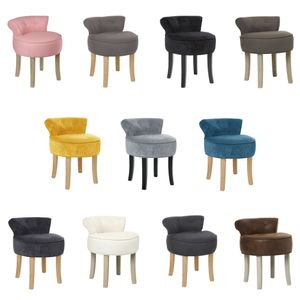 Hocker mit Rückenlehne, gepolsterter Sessel 3in1, moderner Stuhl, Farbe:dunkelgrau