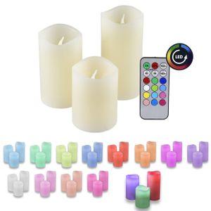 3er Set IOIO LED 48 Echtwachskerzen mit Farbwechsel und Fernbedienung