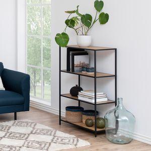 Selsey Standregal SEAFORD - Bücherregal mit 4 Ebenen - Schwarz / Eiche - Industrial-Style - 114 cm hoch