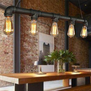 Retro Industrie Pendelleuchte Vintage Lampen Wasserrohr Geformt  Hängeleuchte  Hängelampe Mit 5 Fassungen E27