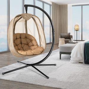 COSTWAY Hängesessel mit Gestell & Sitzkissen, Hängestuhlgestell mit Hängestuhl, Hängekorb Gestell aus Stahl bis 110kg belastbar, Hängesesselgestell für Terrasse Balkon, X-förmige Basis