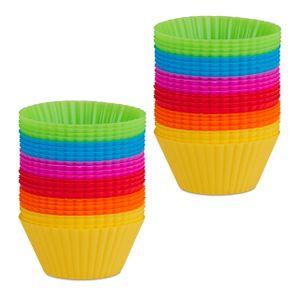 relaxdays 48 x Muffinförmchen Silikon Muffinformen Silikonformen für Cupcakes Backformen