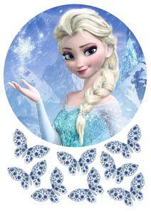Elsa Anna Frozen, Eiskönigen Tortenaufleger Geburtstag, Zuckerpapier Oblaten