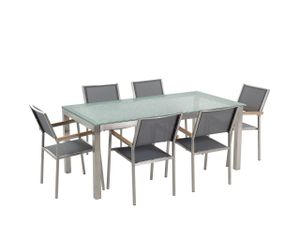 Gartenmöbel Set Grau Sicherheitsglas Edelstahl Tisch 180 cm 6 Stühle Terrasse Outdoor Modern