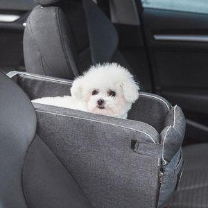 Hunde Autositz für Kleine Mittlere Hunde, Extra Stabiler Hundeautositz Hundesitz Auto für Vordersitz & Rückbank, Mittelkonsole Pet Carrier ,Grau