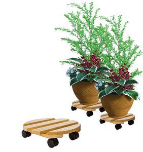 Pflanzenroller rund Buchenholz massives Holz 30 cm bis 120 Kg Rolluntersetzer
