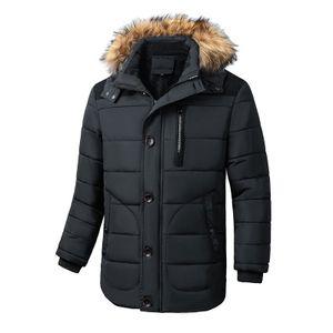 Warme und Fleece gefütterte Herrenjacke mit Kapuze und abnehmbarem Pelzkragen,Farbe: Schwarz,Größe:4XL