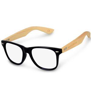 Navaris Retro Brille ohne Sehstärke - Damen Herren 50er Nerd Brille - Anti Blaulicht Computer Nerdbrille ohne Stärke mit Bambus Bügeln div. Farben