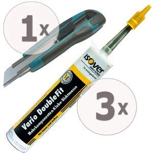 ISOVER Vario DoubleFit Universal-Klebe-Dichtmasse 3 x 310ml + Nespoli Cutter