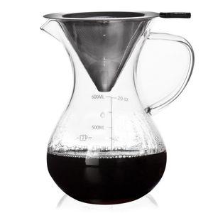 ORION Kaffeebereiter Glaskanne Glaskrug mit Kaffeefilter Kaffeesieb