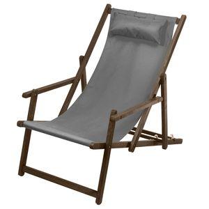 Liegestuhl Sonnenliege mit Armlehne und Kopfkissen Premium Gartenliege Buchenholz grau