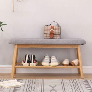 Schuhbank Bambus, gepolsterte Sitzbank 90x45x34cm gemütliche Garderobenbank für 3 Paar Schuhe
