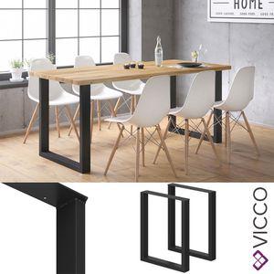 Vicco LOFT Tischbeine 2er Set Tischkufen schwarz 72x60 cm pulverbeschichtet
