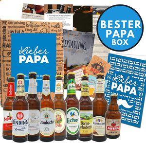 Vatertags Geschenkidee Papa zum Vatertag (9x0,33l) Geschenke für Männer | Geschenkidee für Väter | Geschenkidee für Oktoberfest Männertag Herrentag