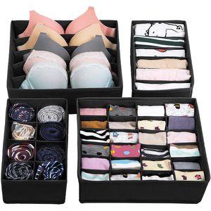 Aufbewahrungsboxen für Unterwäsche, Schubladen-Organizer, Ordnungssystem für Kleiderschrank, faltbar, für BHs, Unterwäsche, Socken, Krawatten, Faltbox, Stoffbox, 4er Set
