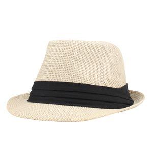 Mode Maenner Frauen Strohhut Kontrastband Fedora Curly Krempe Uni Panama Jazz Trilby Hut Kappe