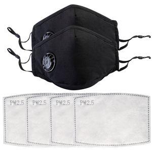 2X wiederverwendbar Atemschutzmaske waschbare mundschutz maske mit 4 filterpads PM 2.5 Stoff maske Schwarz gesichtsmasken mit Atemventil