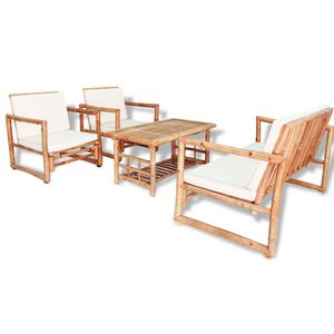 vidaXL 4-tlg. Garten-Lounge-Set mit Auflagen Bambus