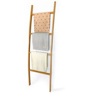 HAUOO Handtuchleiter Handtuchständer Leiter Handtuchhalter Regal mit 4 Stangen Handtuchhalter Bambus Dekoleiter Kleiderständer Leiter Handtuchstange Badetuchhalter Wäscheständer
