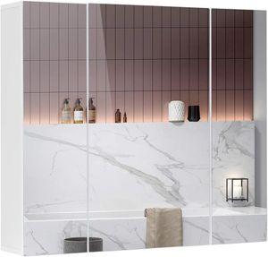 Spiegelschrank Bad no LED-Beleuchtung,Steckdose und lichtschalter70x15x60cm Badezimmer spiegelschrank mit 3Türen,Hängeschrank,badspiegel,badschrank mit Spiegel
