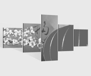 Leinwandbild 5 tlg. 200cmx100cm Kirsche rot Baum Blumen Lampe China japanisch Garten schwarz weiß Bilder Druck auf Leinwand Bild Kunstdruck mehrteilig Holz 9YA1968, 5Tlg 200x100cm:5Tlg 200x100cm
