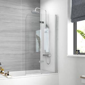 Meykoers Duschtrennwand 120x140cm Faltwand Duschwand für Badewanne 180° Schwenkbar Badewannenaufsatz Duschabtrennung 6mm ESG Sicherheitsglas mit Beidseitige Nano