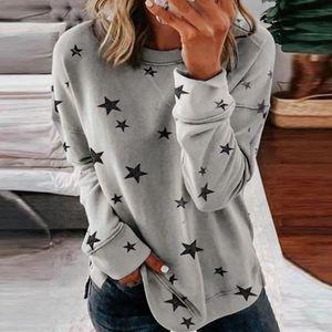 Frauen Langarm Langarm Star Print Seite Split Pullover Sweatshirt Plus Size LRR91210611 Größe:L,Farbe:Grau