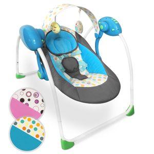 Infantastic® Babyschaukel - Blau, zusammenklappbar, mit Spielbogen und Musikfunktion, mit 5-Punkt-Sicherheitsgurt, Designwahl - Babywippe, Schaukelwippe, Wippe