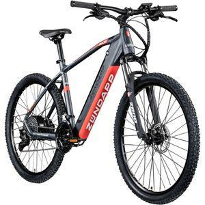 Zündapp Z808 650B E-Mountainbike E-Bike EMTB Hardtail 27,5 Zoll Pedelec Fahrrad Elektrofahrrad, Farbe:schwarz/rot, Rahmengröße:48 cm