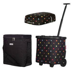 reisenthel carrycruiser black dots + cover + anndora Kühlbox 32 L schwarz - schwarz-gepunktet