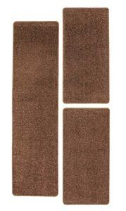 Teppich Kurzflorteppich Bettumrandung 3 teilig Braun Aqua Einfarbig in verschiedenen Farben Läufer Modern Wohnzimmer Kinderzimmer Flur