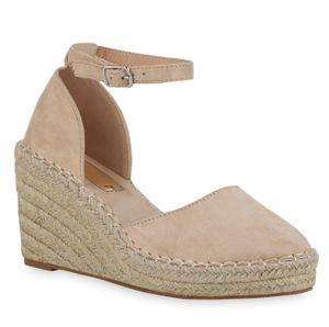 Mytrendshoe Damen Sandaletten Keilsandaletten Bast Plateau Keilabsatz Schuhe 834731, Farbe: Creme, Größe: 38
