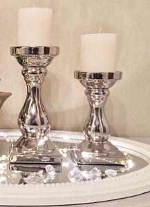 Kerzenständer Keramik Schick FS-12050-17 Klein 17 cm Silber