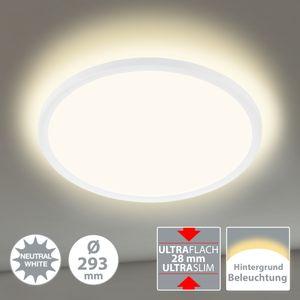 LED Panel Deckenlampe Hintergrundbeleuchtung Weiß Ø29,3cm 18 W Briloner Leuchten
