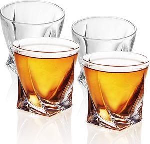 4x TWISTED Whisky Glas in KRISTALL KLAR Old Fashioned Whiskey Kristallglas
