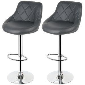 2* Barhocker Set Barstuhl Kunstleder Design Barstühle Bar Hocker Stühle Grau