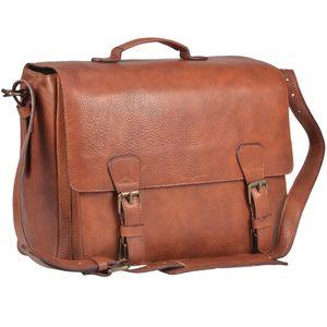 Ruitertassen Aktentasche XL Leder 2 Fächer Lehrertasche Schultasche Herren Damen Männer Frauen Schule Beruf Business cognac braun 4030-77