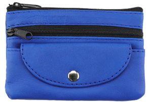 GKA sehr weiche Echtleder Schlüsseltasche blau Schlüsseletui Leder Geldbörse Etui glatt groß mit 3 Taschen