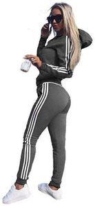 ASKSA Damen Jumpsuit Kapuzenpullover Jogger Jogging Anzug Trainingsanzug 2 Teilig Set für Sport Running Yoga Gym (Grau,S)