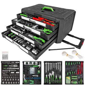 tectake Trolley Werkzeugkoffer 899-tlg. mit 4 Schubladen - schwarz