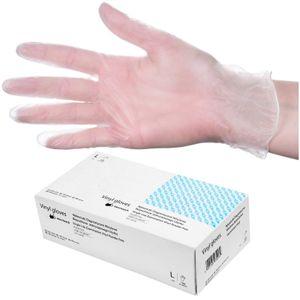 Medizinische Vinyl-Handschuhe 100 Stück Einmal-Untersuchungshandschuhe Puderfrei - Größe L