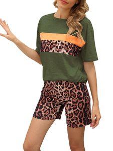 Sexydance Frauen Leopardenmuster Schlafanzüge Zweiteiliger Anzug Pyjamas Set Homewear,Farbe:Grün,Größe:XL