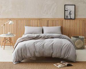 DAPU Bettwäsche Bettbezug Jersey Baumwoll mit 1 Kissenbezug Bettbezug 135x200cm Kopfkissenbezug 80x80cm 2 teilig Farbe Hellgrau