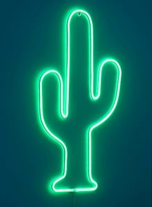 LED-Silhouette mit Neon-Beleuchtung | 240 LED | Leuchtschild für den Innen- und geschützten Außenbereich | strombetrieben | Leucht-Wanddekoration mit Timer (Kaktus)