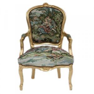Casa Padrino Barock Salon Stuhl Gobelin / Gold
